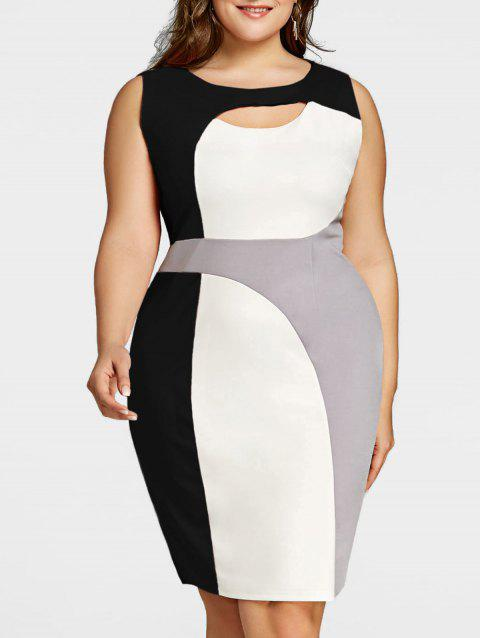 41% OFF] 2019 Plus Size Color Block Cut Out Work Dress In BLACK ...