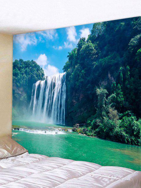 afec5e7837 Natural Forest Waterfall Print Wall Hanging Art Tapestry - GREENISH BLUE  W91 INCH   L71 INCH