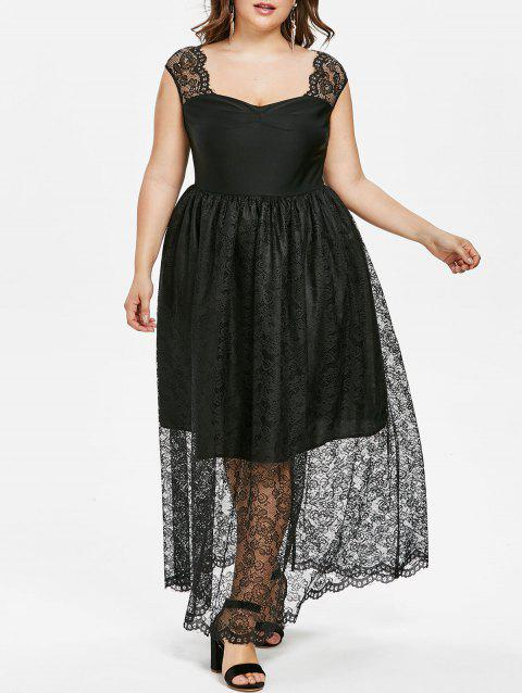 Plus Size Lace Overlay Dress - BLACK 4X