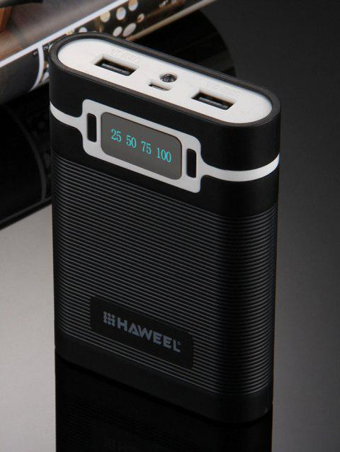 Portable LED Display Double USB Rechargeable Mobile Power Bank Shell Box - BLACK