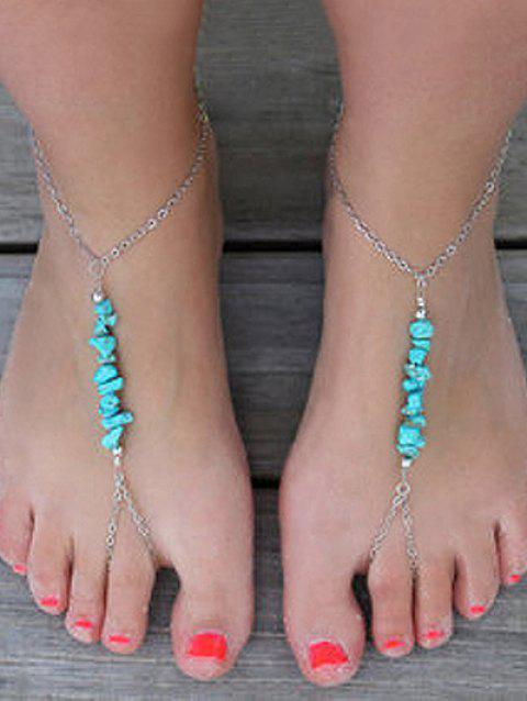 1PC Slave Chain Anklet with Artificial Turquoise - SILVER
