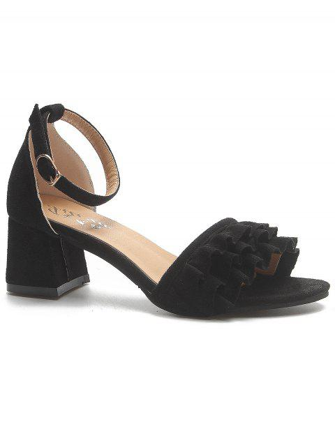 Ruffle Ankle Strap Buckle High Heels - BLACK 39