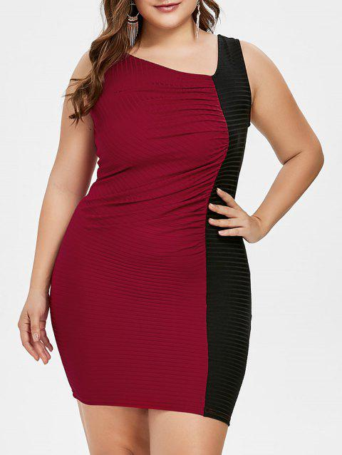 Plus Size Color Block Skew Collar Tight Dress - RED WINE 2X
