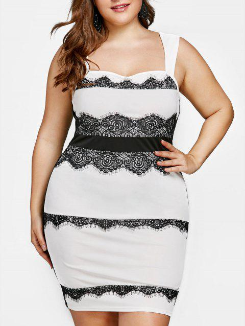 Plus Size Eyelash Lace Trim Tight Dress - WHITE 2XL