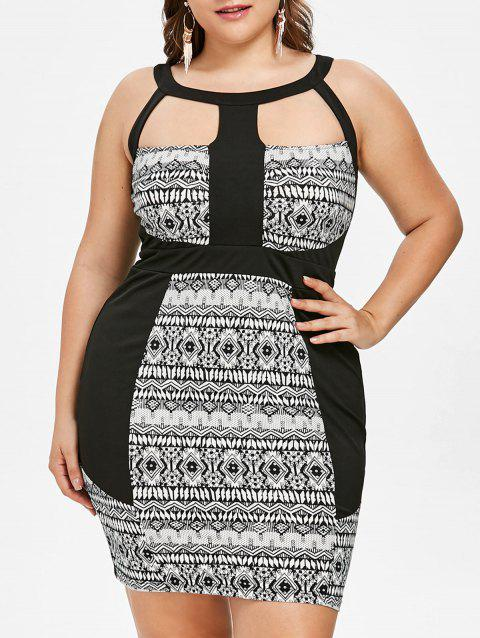 Plus Size Tribal Print Open Back Dress - BLACK 2X