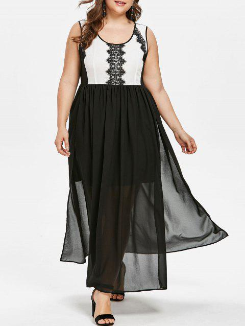 Plus Size Color Block Lace Panel Dress - BLACK 1X