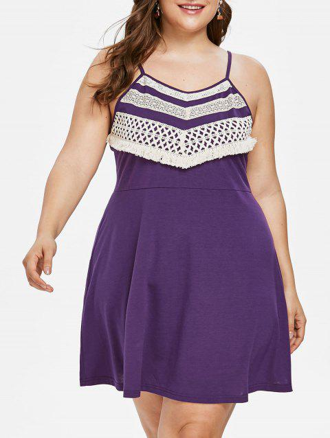 Plus Size Crochet Panel Shift Dress - PURPLE 2X