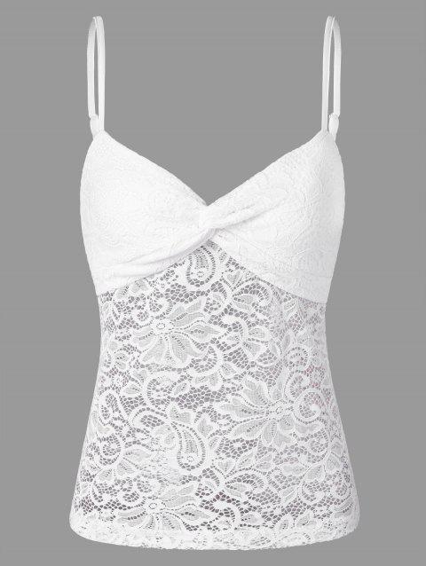 ab2690bdaf 56% OFF  2019 Front Knot Sheer Lace Insert Cami Tank Top In WHITE XL ...
