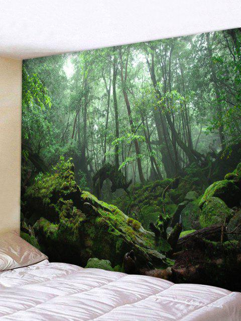 Jungle Scenery Print Wall Hanging Tapestry Art - FOREST GREEN W91 INCH * L71 INCH