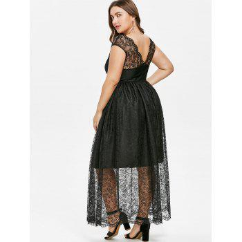 Plus Size Lace Overlay Dress - BLACK 1X
