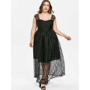 Plus Size Lace Overlay Dress - BLACK 2X