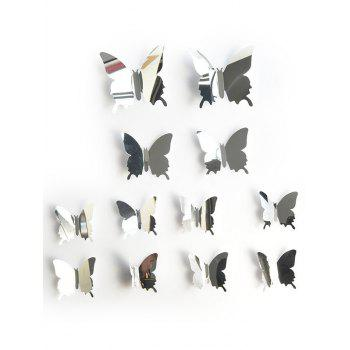 12 Pcs 3D Mirror Butterfly Wall Stickers - SILVER