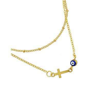 Multilayered Metal Chain Crucifix Eye Anklet - GOLD