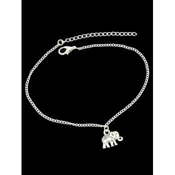 Elephant Charm Chain Anklet - SILVER