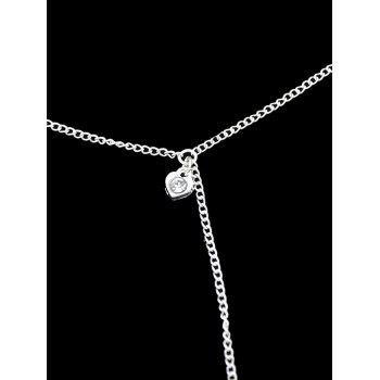 Rhinestone Alloy Heart Slave Chain Anklet - SILVER