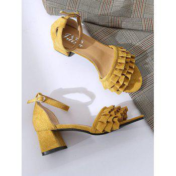 Ruffle Ankle Strap Buckle High Heels - YELLOW 37