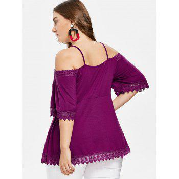 Lace Hem Plus Size Cutout T-shirt - PURPLE JAM 2X