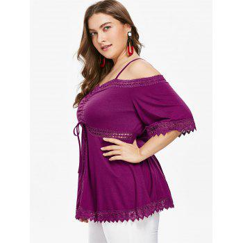 Lace Hem Plus Size Cutout T-shirt - PURPLE JAM 4X
