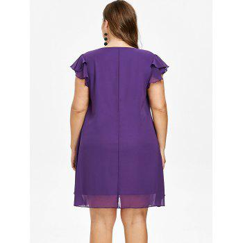 Plus Size Butterfly Sleeve Overlay Dress - PURPLE MONSTER 2X