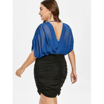 Plus Size Half Sleeve Ruched Dress - ROYAL BLUE L
