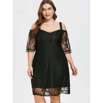 Shoulder Cut Plus Size Lace Overlay Dress - BLACK 3X