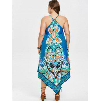 Plus Size Ethnic Floral Asymmetrical Dress - OCEAN BLUE 2X