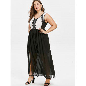 Plus Size Color Block Lace Panel Dress - BLACK L
