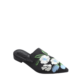 Pointed Toe Flower Embroidery Mules Shoes - BLACK 35