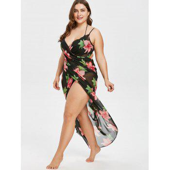 Plus Size Floral Cover Up Wrap Dress - BLACK 2X