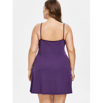 Plus Size Crochet Panel Shift Dress - PURPLE 5X