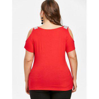 Plus Size Sequined Open Shoulder T-shirt - RED 5X