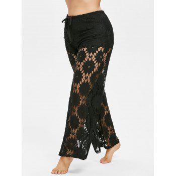 Plus Size Hollow Out Lace Pants - BLACK L