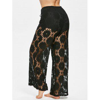 Plus Size Hollow Out Lace Pants - BLACK 2X