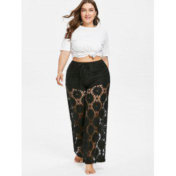Plus Size Hollow Out Lace Pants - BLACK 4X
