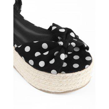 Polka Dot Espadrille Platform Sandals - BLACK 36