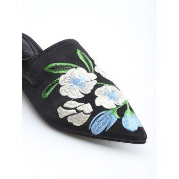 Pointed Toe Flower Embroidery Mules Shoes - BLACK 37