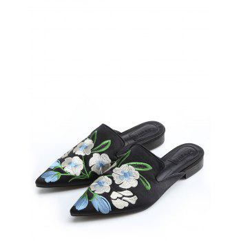 Pointed Toe Flower Embroidery Mules Shoes - BLACK 39