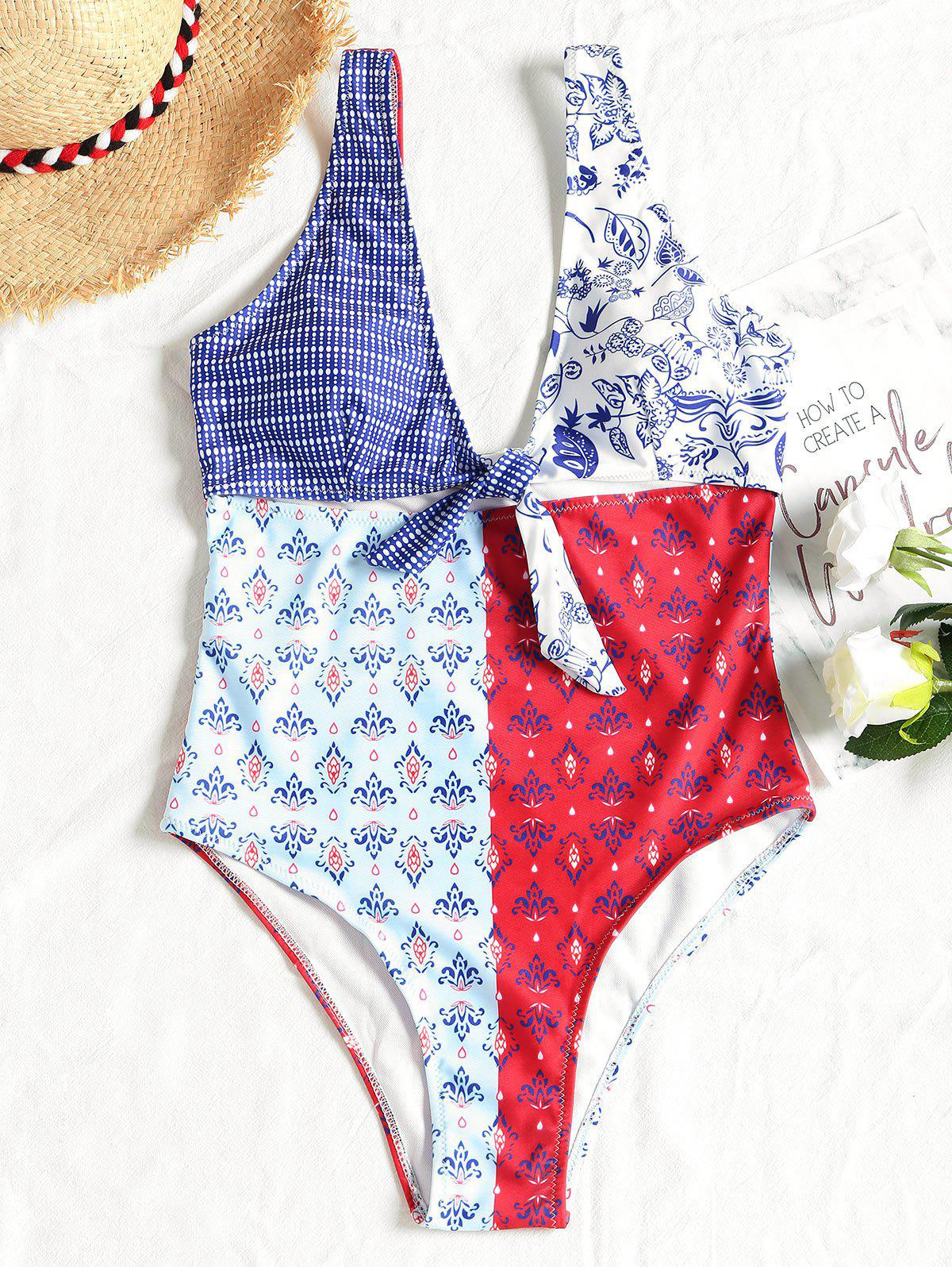 Backless High Cut Patterned Swimsuit - BLUE S