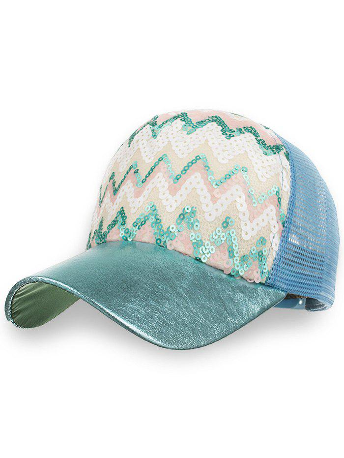 Sequins Wave Decorative Mesh Graphic Hat - BLUE KOI