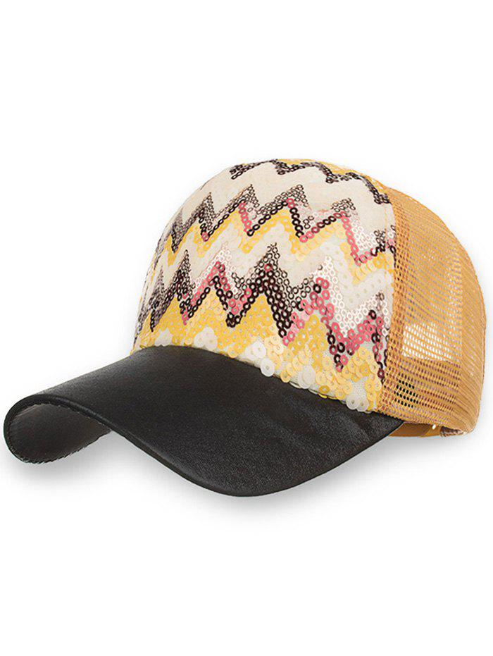 Sequins Wave Decorative Mesh Graphic Hat - BLACK