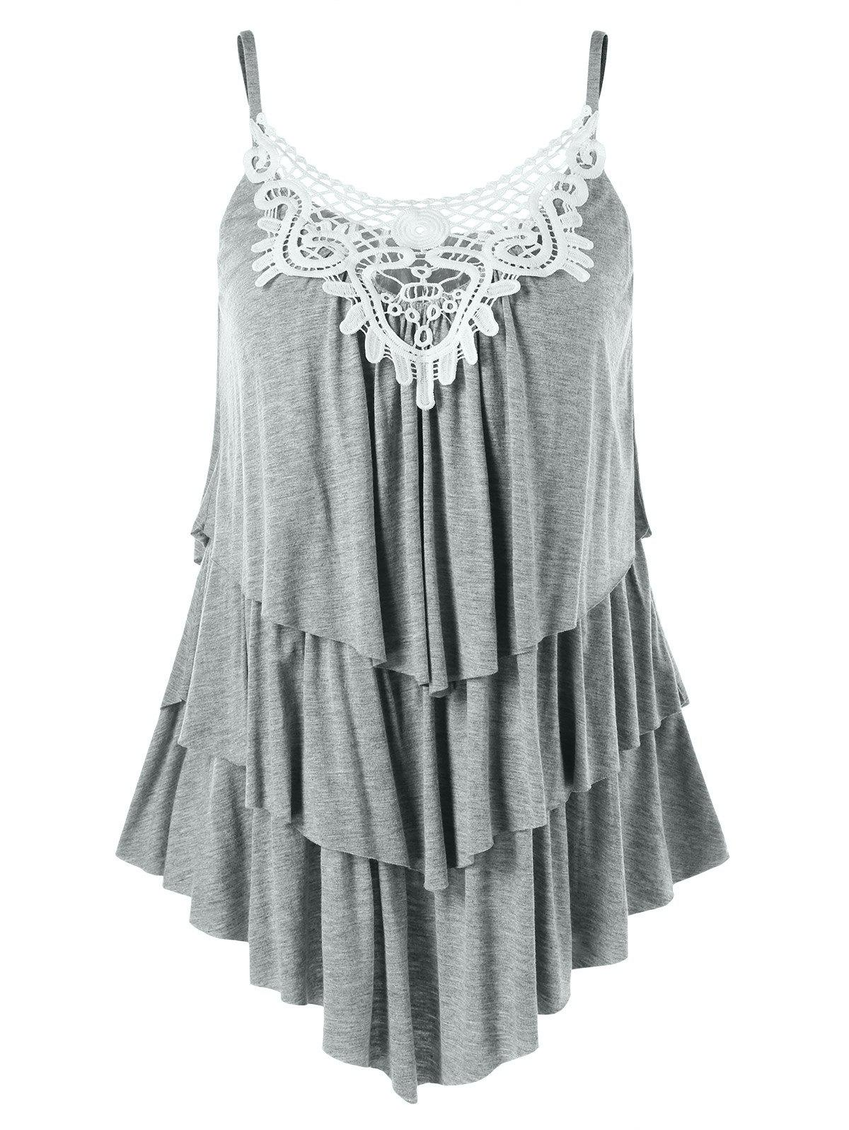 Asymmetrical Lace Applique Layered Cami Tank Top scallop lace applique exposed zip tulle tank top
