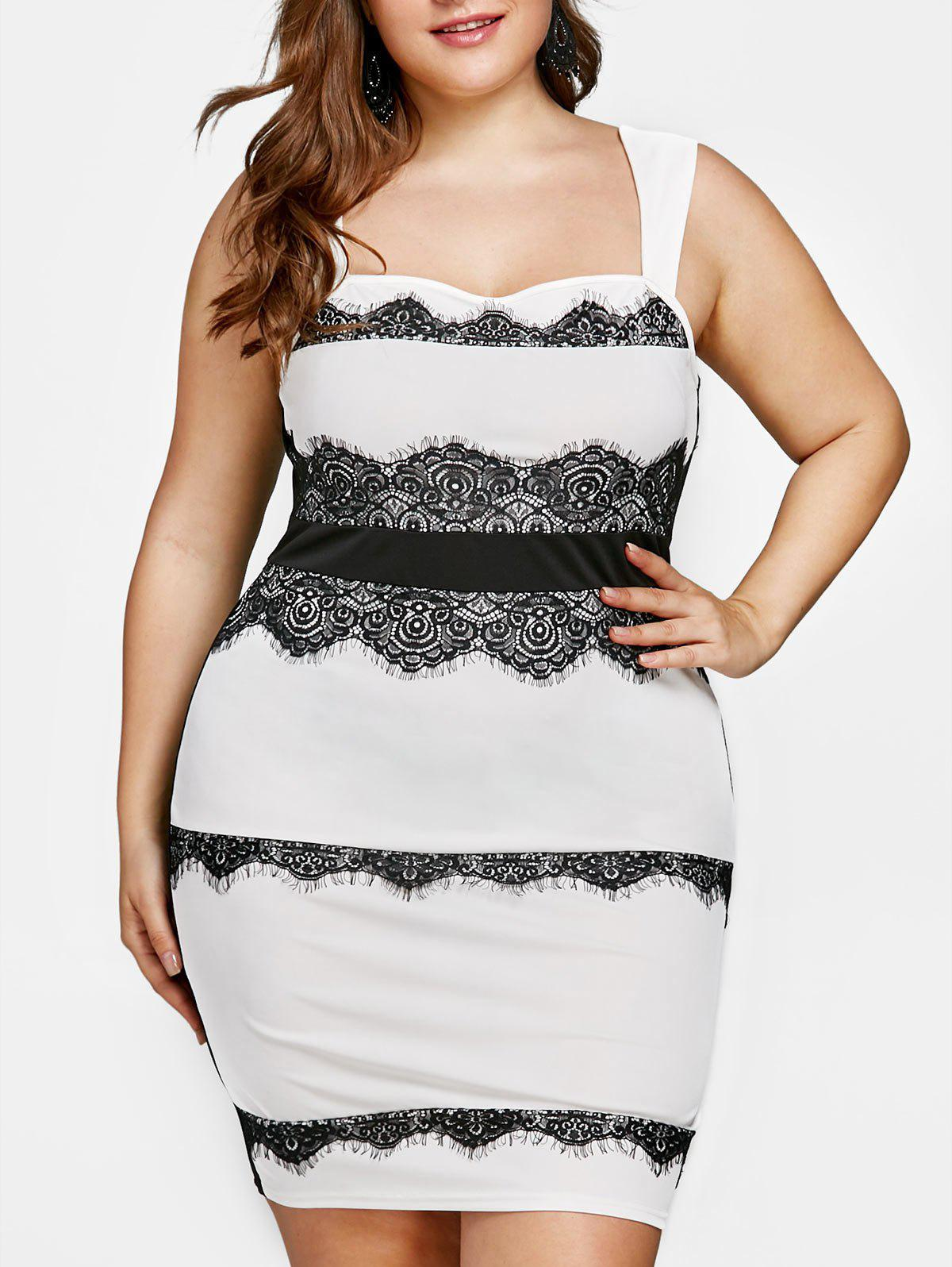 Plus Size Eyelash Lace Trim Tight Dress - WHITE 4XL