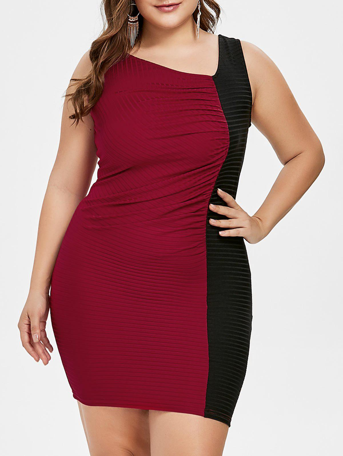 Plus Size Color Block Skew Collar Tight Dress - RED WINE 3X