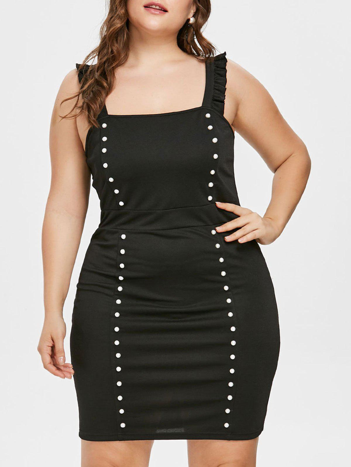 Plus Size Sleeveless Party Dress - BLACK L