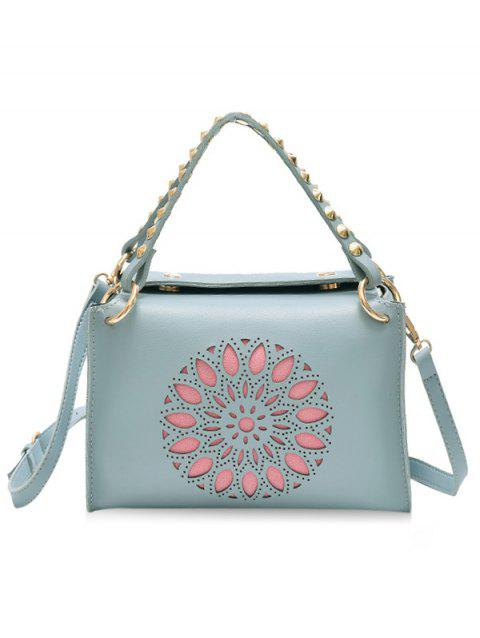 Chic Rivets Laser Cut Out Handbag with Strap - PALE BLUE LILY
