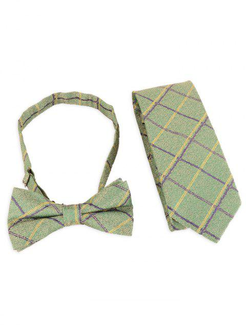 Vintage Plaid Pattern Silky Formal Necktie and Bowtie - DOLLAR BILL GREEN