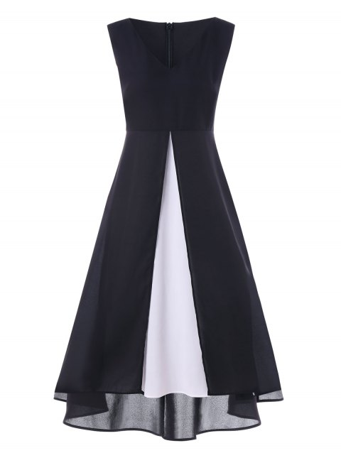 Two Tones High Waist Sleeveless Maxi Dress - BLACK XL