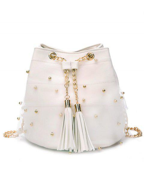 Casual Tassel Faux Pearls Lace Crossbody Bag - WHITE