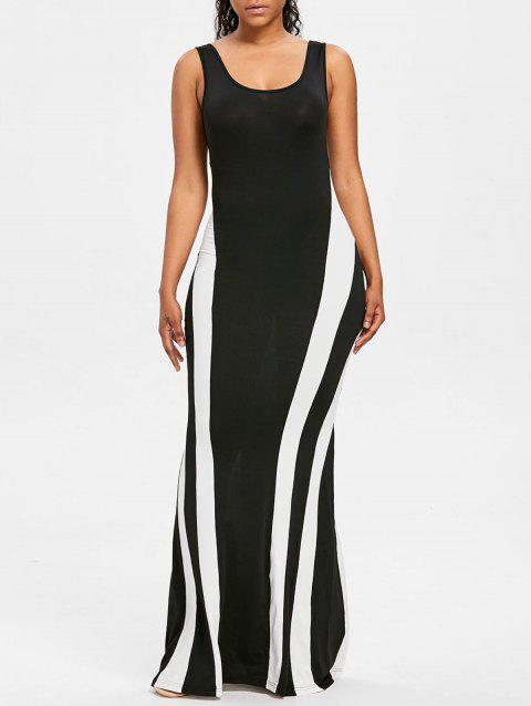 Color Block Maxi Tank Dress - BLACK L