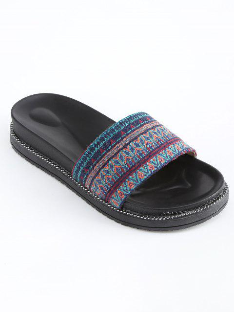 Tribal Print Platform Slide Sandals - multicolor 37